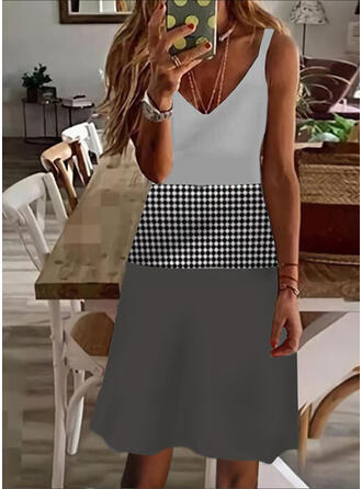Print/Color Block/Plaid Sleeveless A-line Above Knee Casual/Vacation Slip/Skater Dresses