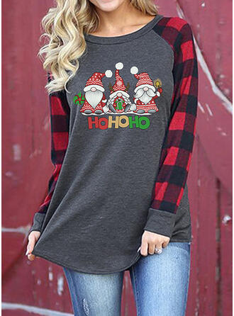 Print Figure Round Neck Long Sleeves Casual Christmas T-shirts