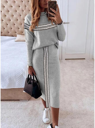 Sequins/Striped Long Sleeves Bodycon Pencil Casual Midi Dresses