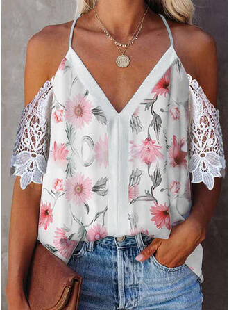 Print Floral Lace Cold Shoulder 1/2 Sleeves Elegant Blouses