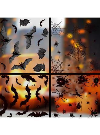 Horripilante Murciélago Halloween Red de araña Araña PVC Pegatina Decoraciones De Halloween (Juego de 2)