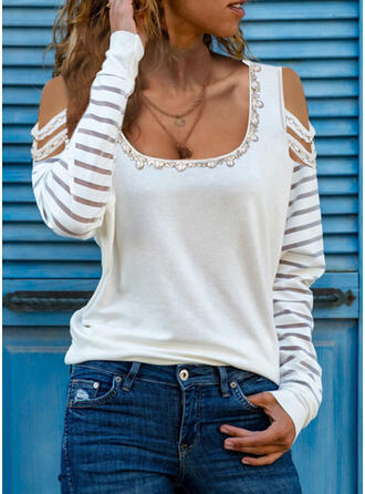 Solid Beaded Cold Shoulder Long Sleeves Casual Blouses