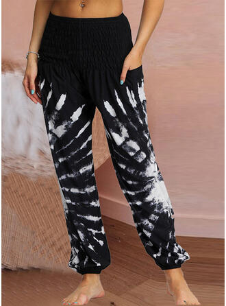 Fruncido Tie Dye Largo Casual Sexy Pantalones