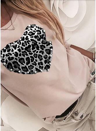 Leopard Beaded Round Neck Long Sleeves Casual T-shirts