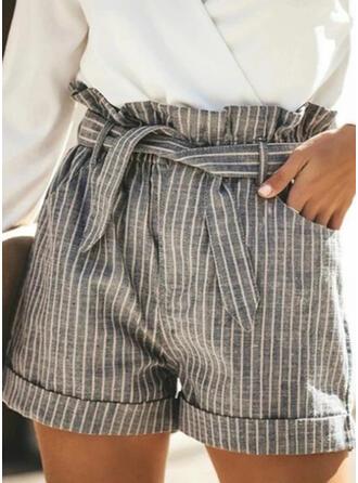 raya Bolsillos Fruncido Talla extra Por encima de la rodilla Casual Elegante Pantalones cortos