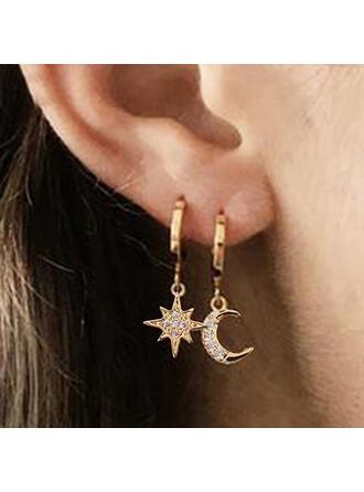Luminoso Encanto Delicado Redondo Aleación con Luna Dom Pendientes 2 piezas