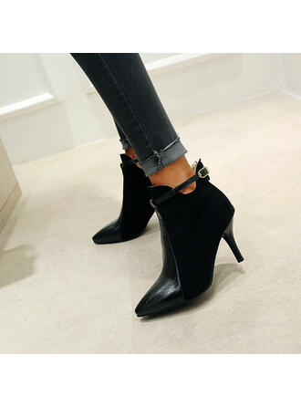 Women's PU Stiletto Heel Ankle Boots Pointed Toe With Buckle shoes