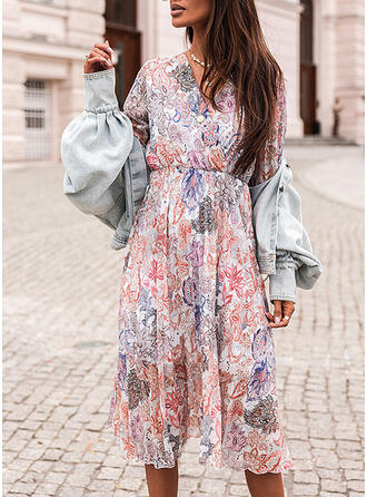 Print/Floral 3/4 Sleeves A-line Skater Casual/Vacation Midi Dresses