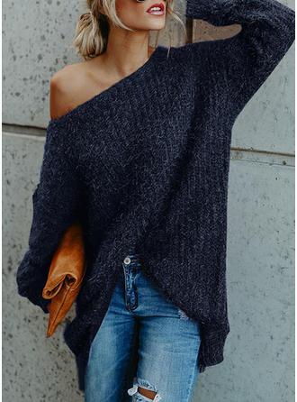 Sólido Un hombro Casuales Vestido de Suéter