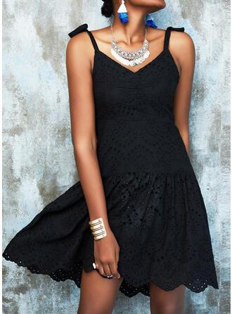 Solid/Backless Sleeveless A-line Above Knee Little Black/Casual Slip/Skater Dresses