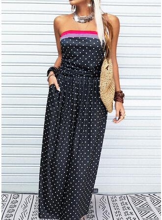 Print/PolkaDot Sleeveless A-line Skater Casual/Vacation Maxi Dresses