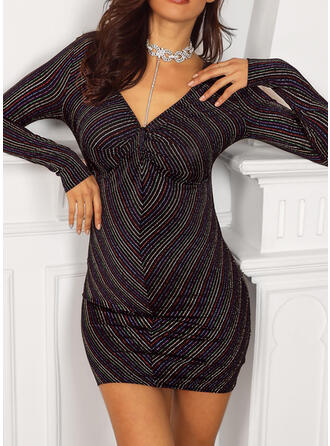 Striped Long Sleeves Bodycon Above Knee Party Dresses