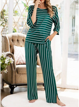 Polyester Print Striped Patchwork Pyjama Set