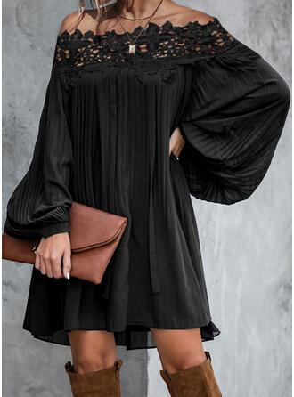 Lace/Solid Long Sleeves Shift Above Knee Elegant Dresses