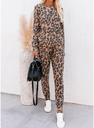 Leopard Drawstring Casual Sporty Suits