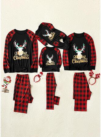 Santa claus Reno Color-Block Tela Escocesa Impresión Familia a juego Pijamas De Navidad