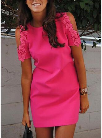 Lace/Solid Short Sleeves Sheath Above Knee Elegant Dresses