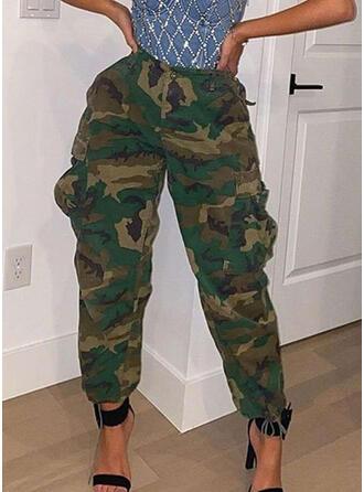 Bolsillos Camuflaje Largo Casual Sexy Pantalones