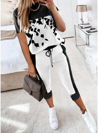 Print Casual Plus Size Drawstring Two-Piece Outfits