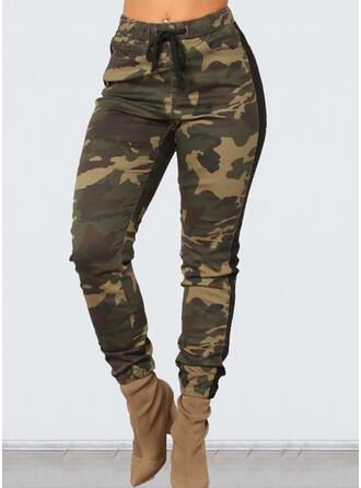Talla extra Camuflaje Cordón Recortada Casual Pantalones
