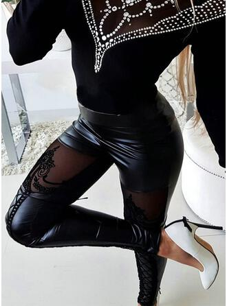 Solid Lace Patchwork Sexy Vintage Pants Leggings