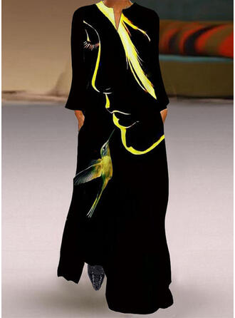 Animal Print Long Sleeves Shift Casual Maxi Dresses