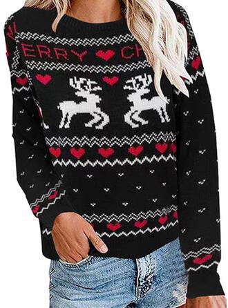 Animal Print Round Neck Casual Christmas Ugly Christmas Sweater