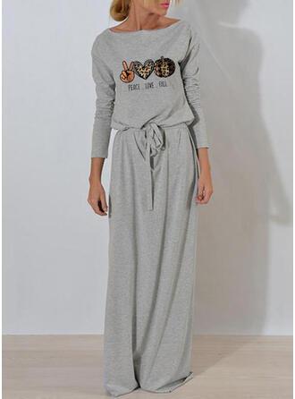 Print/Leopard Long Sleeves Sheath Casual/Halloween Maxi Dresses