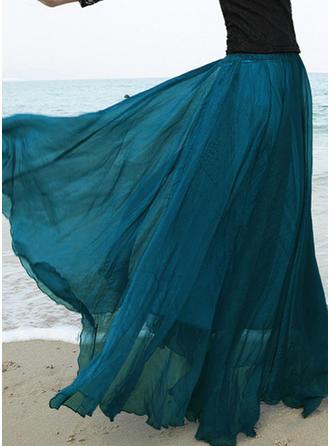 Chiffon Plain Floor-Length A-Line Skirts