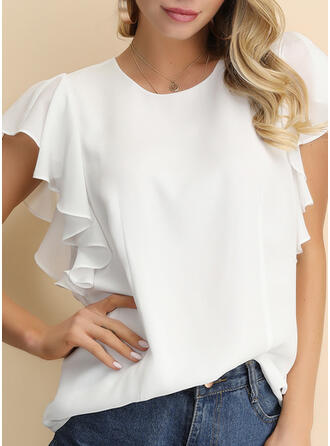 Solid Round Neck Short Sleeves Casual Elegant Blouses