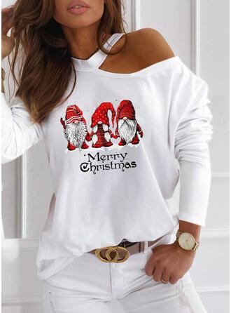 Print Figure One-Shoulder Long Sleeves Casual Christmas Blouses
