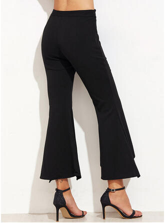 Patchwork Shirred Plus Size Cropped Elegant Sexy Pants