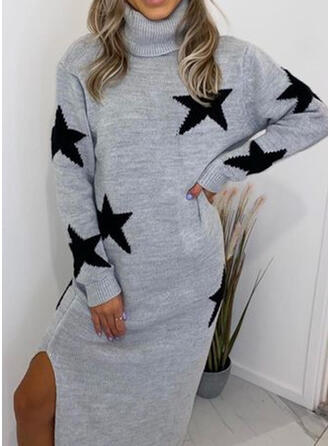Print Long Sleeves Shift Sweater Casual Midi Dresses