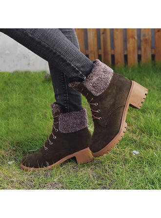 Women's Leatherette Chunky Heel Martin Boots Round Toe With Lace-up Splice Color shoes