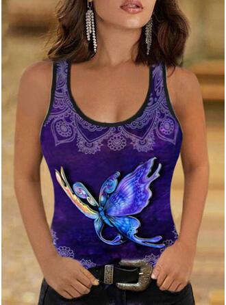 Print Butterfly Round Neck Sleeveless Tank Tops