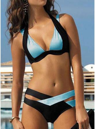 Low Waist Patchwork Strap Sexy Plus Size Bikinis Swimsuits