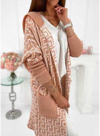 Print Hooded Casual Cardigan
