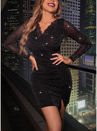 Lace/Sequins/Solid Long Sleeves Bodycon Above Knee Little Black/Party Dresses