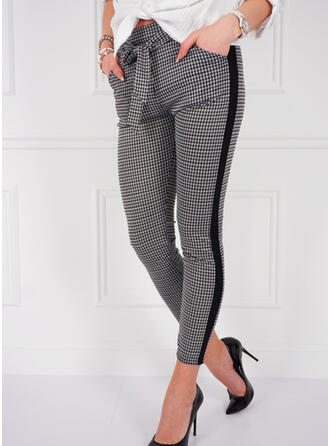 Tela escocesa Bowknot Largo Elegante Sexy Pantalones