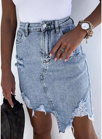Cotton Tassel Above Knee Pencil Skirts