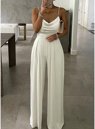 Solid Spaghetti Straps Sleeveless Elegant Sexy Office/Business Jumpsuit