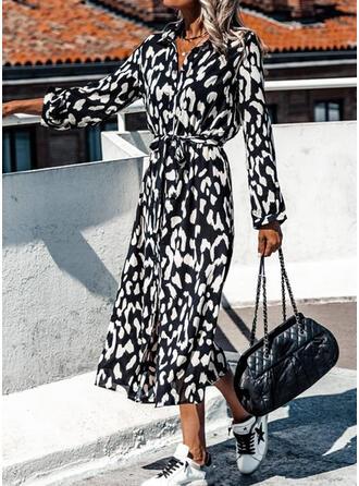 Print Long Sleeves Sheath Shirt Casual/Vacation Midi Dresses