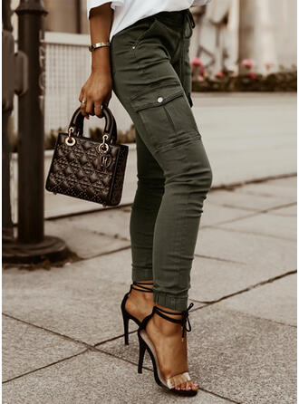 Solid Long Casual Plus Size Office/Business Pocket Pants