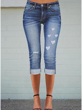 Print Heart Denim Capris Casual Plus Size Pocket Ripped Pants Denim & Jeans