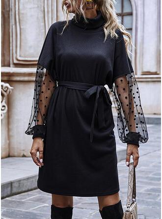 Sólido Manga Larga Cubierta Sobre la Rodilla Pequeños Negros Vestidos