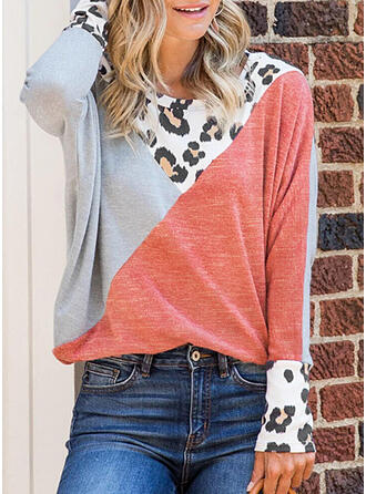 Color Block Leopard Round Neck Long Sleeves Casual T-shirts