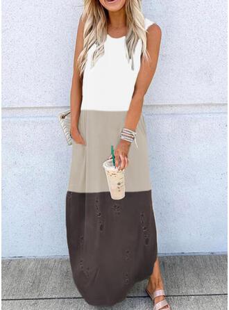 Color Block Sleeveless Shift Tank Casual Maxi Dresses