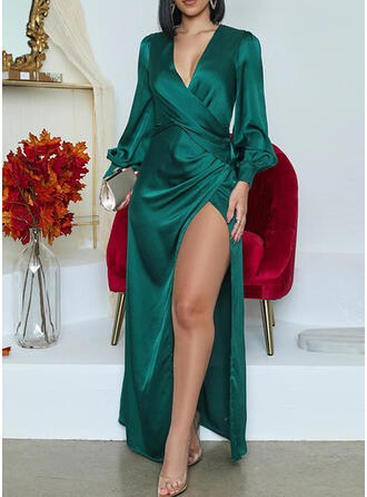 Solid Long Sleeves/Lantern Sleeve A-line Wrap/Skater Party Maxi Dresses