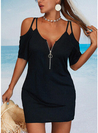 Solid 1/2 Sleeves Sheath Above Knee Little Black/Casual/Vacation Dresses