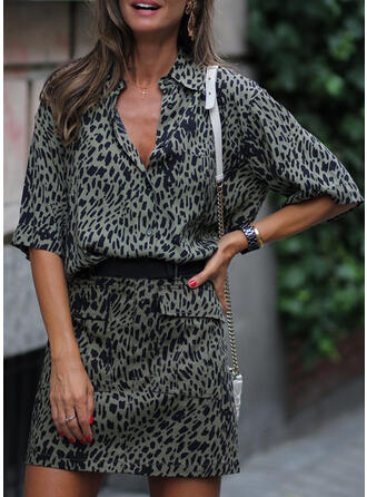 Leopardo Mangas 1/2 Cubierta Sobre la Rodilla Casual Vestidos